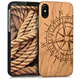 kwmobile Funda Compatible con Apple iPhone X - Funda de Madera de Nogal compás marrón Claro