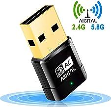 WiFi Adaptador 600mbps Wireless Network Receptor Banda Dual (5G/433Mbps + 2.4G/150Mbps) dongle USB de Alta Velocidad con Soporte para WPS,Soporte de Windows XP/Vista/7/8/10/(32/64bits)/Mac OS,Linux