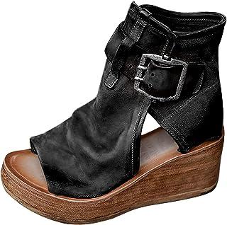 UULIKE Compensées Sandales Femmes Été,Poisson Bouche Pantoufles Mode Hauts Chaussures Plateforme Sandales Loisirs Confort ...
