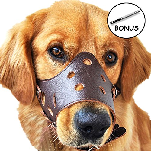 JUNMO® Ajustable de Cuero Hocico del Perro Anti-Morder Transpirable Seguridad del Animal Doméstico del Perrito de la Máscara de Bozales para Morder y Ladrar(Marrón, S)