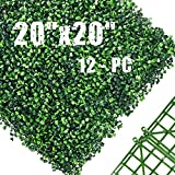 """Hedge Maze 12pc 20"""" x 20"""" Artificial Boxwood Hedge Wall Panels, Green Grass Wall, 440 Stitches Artificial Greenery Panels Privacy Fence Screen Topiary Boxwood Panels Backdrop Outdoor Indoor Wedding"""