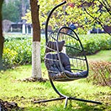 elify Swing Egg Chair with Stand - Patio Hanging Chair for Indoors Outside Bedrooms Wicker Aluminum Frame Capacity 350 Pounds(Dark Gray UV Resistant Cushion & Pillow) UV Resistant Cushion & Pillow