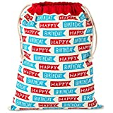 Hallmark 20' Extra Large (Happy Birthday) Reusable Wrap for Kids, Adults, Grandchildren Fabric Drawstring Gift Bag, X, Red and Blue Flags