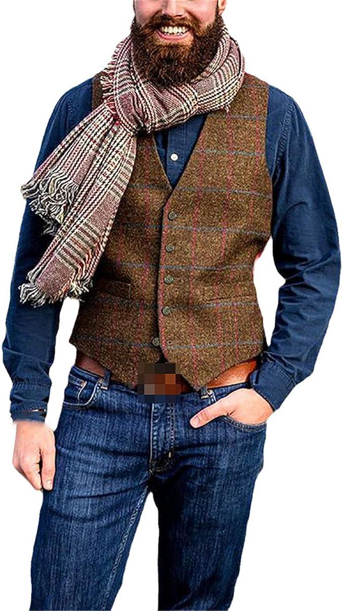 Plaid suit vest men's retro sleeveless vest casual slim gentleman business vest