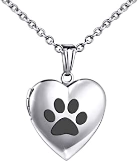 Dog Paw Locket Necklace that Holds Pictures Love Heart Photo Locket Crystals Necklace Pendant Birthday Gifts