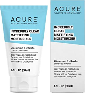 ACURE Incredibly Clear Mattifying Moisturizer | 100% Vegan | For Oily to Normal & Acne Prone Skin | Lilac Extract & Chlorella - Hydrates & Balances | 1.7 Fl Oz