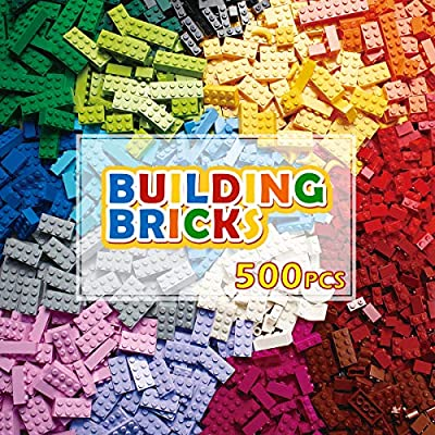 PANLOS STEM Building Bricks Kit Classic Colors 500 Pieces Building Blocks Toys-Compatible with All Major Brands from PANLOS