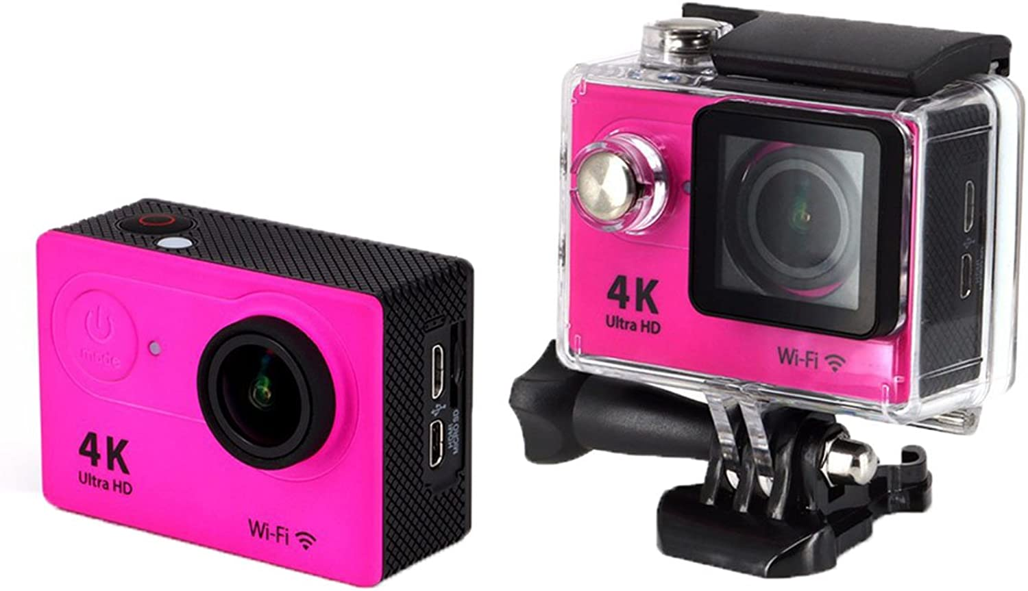 WiFi 2.0''12MP 4K 1080P Outdoor Sports DV Action Camera Video Camcorder 2.4G Remote Control 170°Angle Len Shockproof Waterproof,Rosy