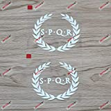 (2) 4'' SPQR Ancient Rome Banner Decal Sticker Car Vinyl Roman no bkgrd White sda1