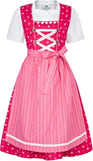 Isar-Trachten Kinder Dirndl Victoria 3-TLG. - Pink Rosa - Mädchen Trachtenkleid Gr. 98-152