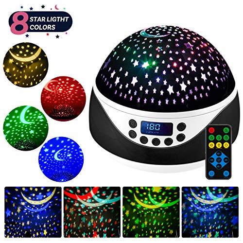 LED Sternenhimmel Projektor Lampe mit Fernbedienung,Shayson Baby Musik Nachtlicht mit Timer,360°Drehung,4 LED-Lampen 8 RGB Lichter & Warmweißlicht für Kinder-Schwarz