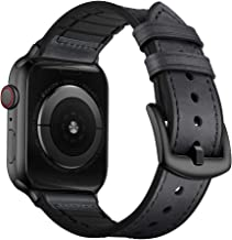 OUHENG Compatible with Apple Watch Band 42mm 44mm, Sweatproof Genuine Leather and Rubber Hybrid Band Strap Compatible with iWatch Series 5 4 3 2 1, Retro Gray Band with Black Adapter