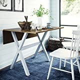 Nathan James Kalos Solid Wood Drop Leaf Folding Kitchen Farmhouse Dining Room or Space Saving Console Table and Desk, Rustic, Brown/White