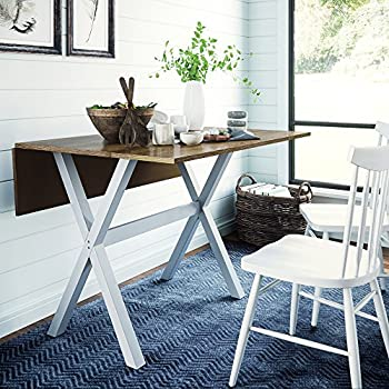 Nathan James Kalos Solid Wood Drop Leaf Folding Kitchen Farmhouse Dining Room or Space Saving Console Table and Desk Rustic Brown/White