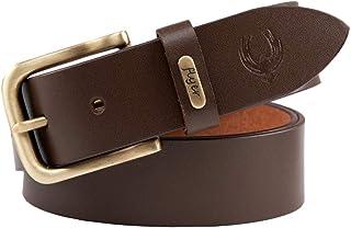 Flyer Men's Leather belt (Formal/Casual) Branded (Colour -Brown/Black) Stylish Buckle Adjustable Size Genuine Quality
