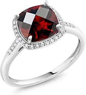 Gem Stone King 2.40 Ct Cushion Checkerboard Red Garnet 10K White Gold Engagement Ring with Accent Diamonds (Available 5,6,7,8,9)