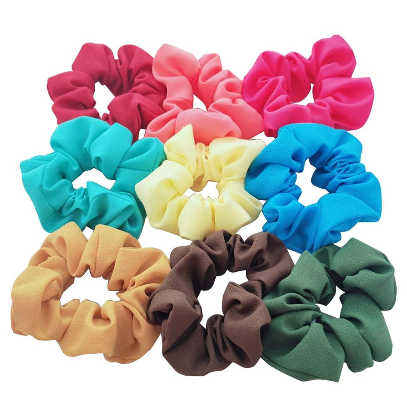 あるアブセイ以来9ピースヘアバンドガールズヘアアクセサリーぽっちゃりシフォン弾性ソフトヘアネクタイロープポニーテール、女性や女の子のためのバンドヘアアクセサリー