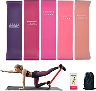 fun young Yoga Elastic Band,Silicone Resistance Bands with 5 Different Resistance Levels Ideal for Legs and Butt, Stretchi...