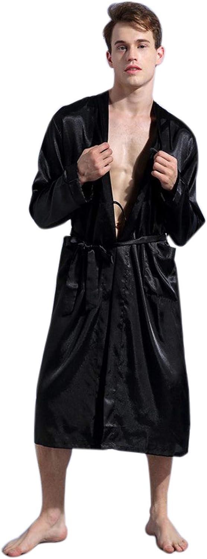 Cicilin Mens Long Kimono Bathrobes Satin Silk Dressing Gowns Nightwear with Belt