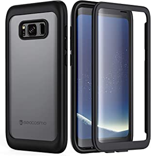 seacosmo Slim Full Body Galaxy S8 Case, Shockproof Dustproof Rainproof Extreme Durable Protective Case Cover with Built-in Screen Protector Compatible with Samsung Galaxy S8, Black
