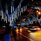 Invin LED Meteor Shower Lights, Falling Rain Lights, Christmas Lights 30cm 8 Tube 144 LEDs, Falling Rain Drop Icicle String Lights for Christmas Tree Halloween Decoration Holiday Party Wedding (White)