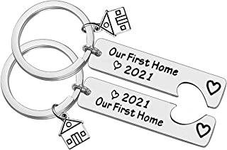 Our First Home 2021 Keychain Set for New Home Keychain Gift Housewarming Gift for New Homeowner Couples First Home Gift Ne...