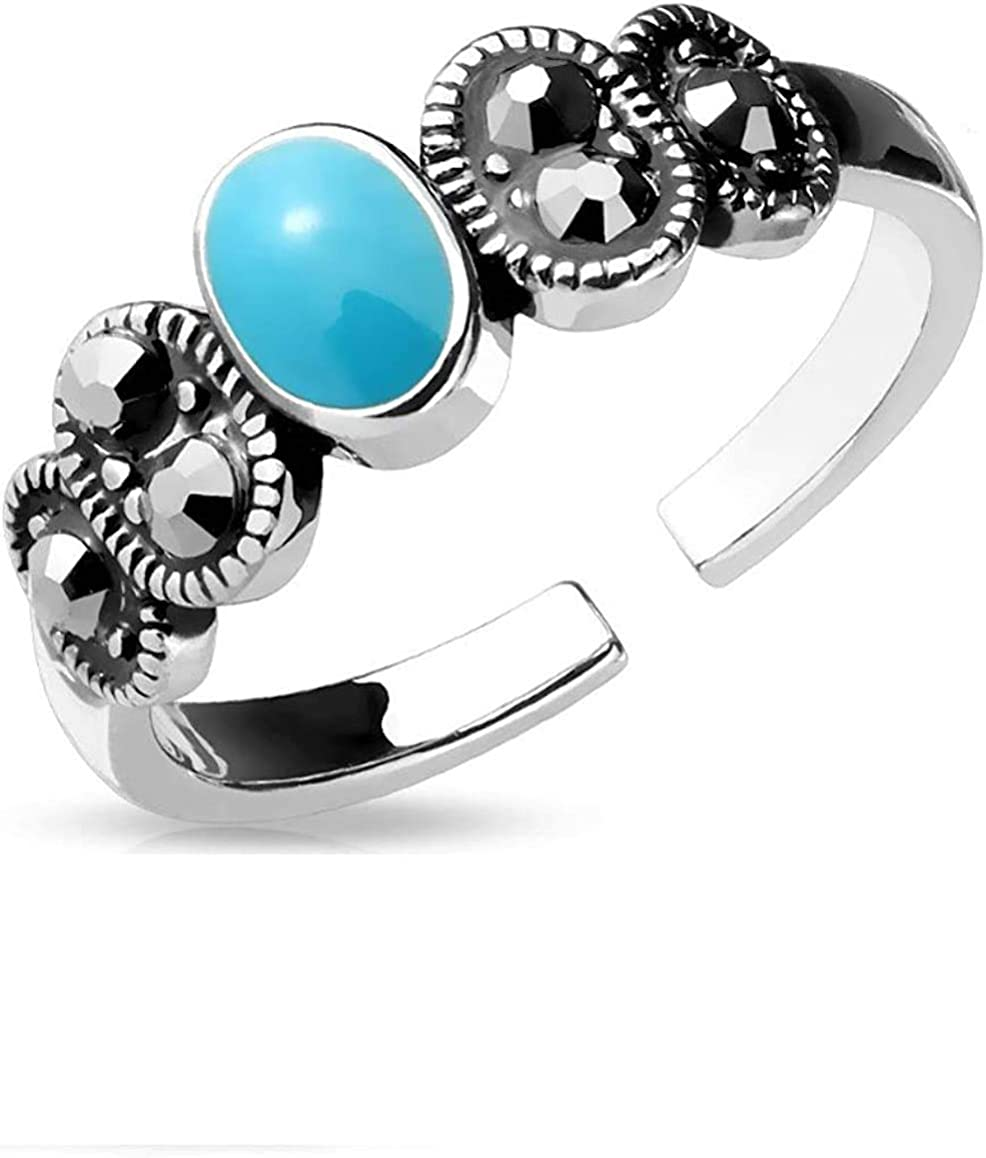Covet Jewelry Adjustable Toe Ring/Mid Ring Black Diamond Crystal and Turquoise Center