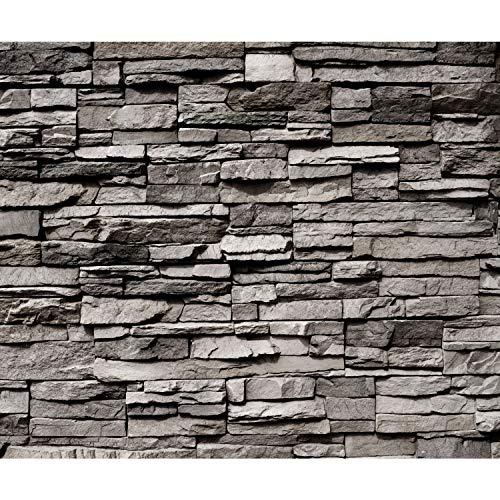 decomonkey Fototapete selbstklebend Steinwand Stein 392x280 cm Selbstklebende Tapeten Wand Fototapeten Tapete Wandtapete klebend Klebefolie Steintapete Steinoptik 3D Mauer grau