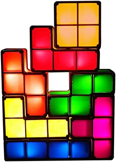 WZZZZ Tetris Stackable Night Light, 3D Tangram Puzzle LED Induction Interlocking Desk Lamp,Novelty Desk Lamp Lighting DIY for Kids Teens and Adults Home Deco Great Gift for Birthday
