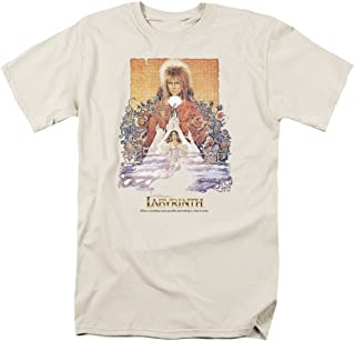 Labyrinth Movie Poster David Bowie Adult Mens T-Shirt Cream