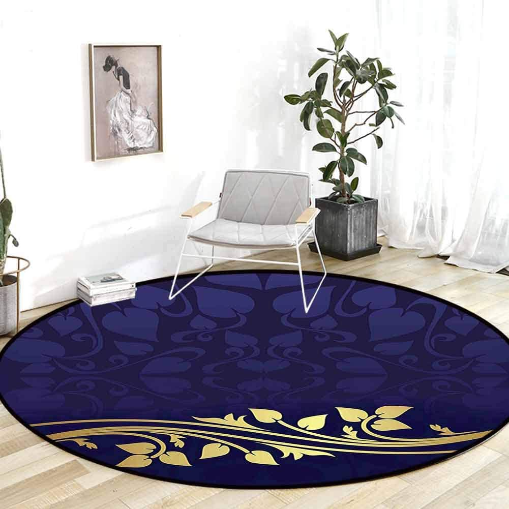 Rugs for Bedroom Navy Blue Decor Royal All items free shipping Romantic Max 71% OFF Leaf wit Pattern