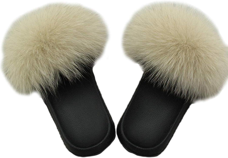 Nafanio Women Summer Slippers Fox Fur Ladies Home Plush Slides House Flip Flops Indoor Furry Sandals