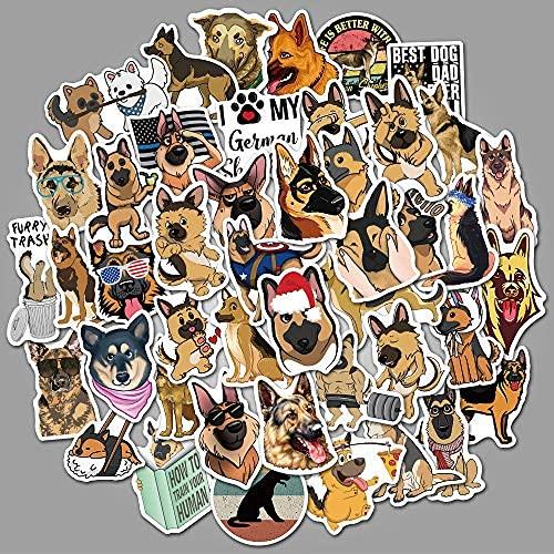 YACHAO 50 Lindos Perros Pastor alemán Graffiti Pegatinas Maleta Personalizada Taza de Agua Pegatinas de Dibujos Animados para niños