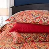 Classical Paisley Duvet Cover 3pc Set Bohemian Bedding Boteh Damask Medallion 400TC Egyptian Cotton Sateen Luxury European Traditional Style Bed Linen (Red Gold, King)