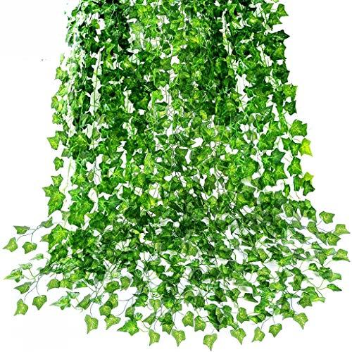 12 hilos de plantas artificiales de 85 pies Guirnalda de hiedra, hiedra falsa, colgando para el banquete de boda Jardín Decoraciones de verdor al aire libre Oficina Hogar Cocina Habitación Decoración