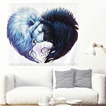 Wall Tapestry Artistic Black & White Lion White Yin & Yang Wall Tapestries Animal Tapestry Galaxy Hipster Painting Wall Hanging Wall Decor Art Home Decor For Living Room Sofa Kitchen white 59x51inch