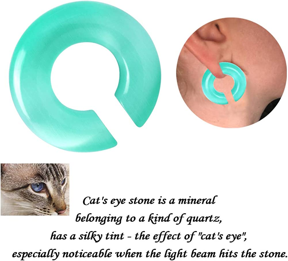 YOFANST Cats Eye Agate Opalite Hoop Stone Large Keyhole Stone Ear Stretchers Gauge 2g 0g 00g