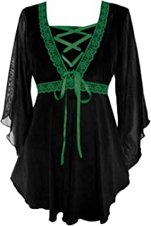 Bewitched Corset Top: Victorian Gothic Medieval Women's Maiden Blouse for Everyday Halloween Cosplay Festivals