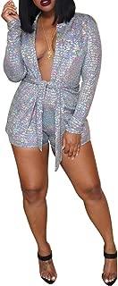 Kafiloe Sexy Two Piece Outfits for Women Shorts Set Long Sleeve Blazer Jacket Bodycon Clubwear Jumpsuit Rompers