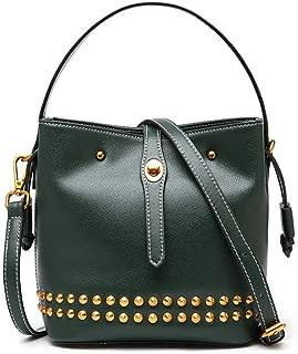 Fashion Simple and Versatile Compact Bills Shoulder Slung Leather Handbags (Color : Green)