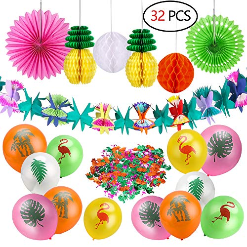 Howaf 33 stücke Sommer Tropical Party Dekorationen Kit Blumen Girlande Hawaii Party Deko Banner Ananas Wabenbälle Seidenpapier Fan und Tropische Ballons Flamingo Konfetti