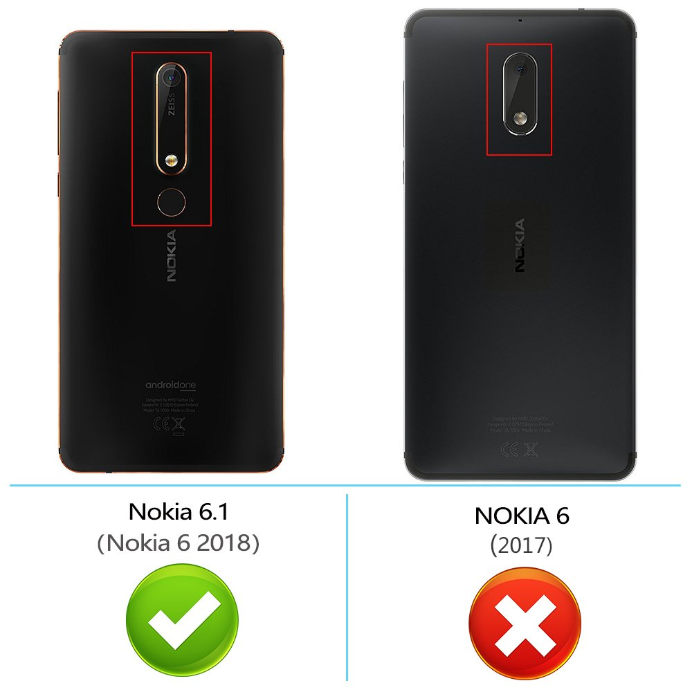 Peakally Funda Nokia 6.1 / Nokia 6 2018, Transparente Delgado ...