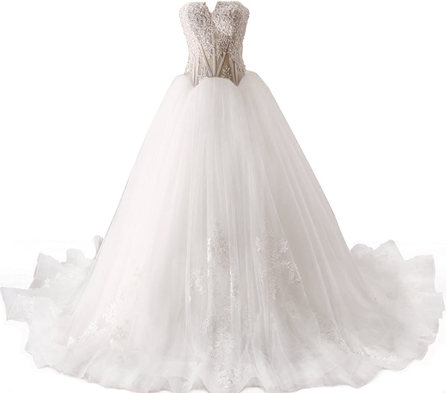 XPLE Women's Elegant White Tulle Off The Shoulder Sweetheart Neckline Appliqued Wedding Dresses Lace Up Bridal Gowns D011