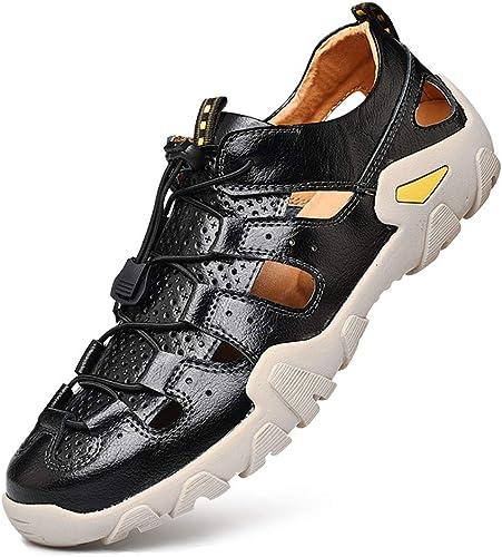 ALMRKS Hommes Cuir Sandales Affaires, Voyage Baotou Chaussures de Plage Chaussures de Travail Cuir Sandales de Travail Hommes