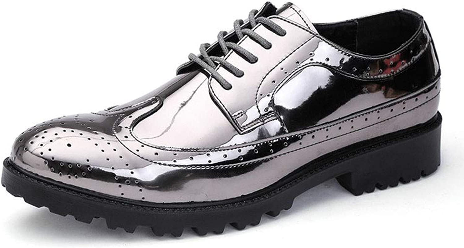 AKJC Business shoes Men Silver Patent Leather Oxford shoes for Men Dress shoes Men Formal shoes Pointed Toe Business Wedding Plus Size 38-45 Formal shoes Men