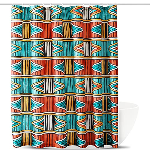Colorful Boho Shower Curtain - Geometric Striped Bohemian Shower Curtain for Bathroom, Fabric Shower Curtain Set Boho-Chic Style with Grommets, 12 Hooks Included, Orange Turquoise, 72 x 72 Inch, 1 Pc