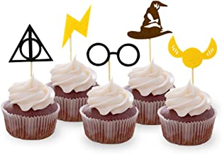 30PCS Wizard Cupcake Toppers, HP Birthday Party Cake Decorations, Wizard Theme Party Supplies