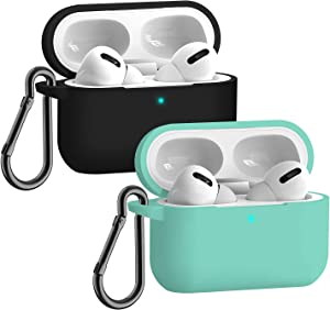 Airpods Pro Case,Apple Airpods pro Accessories Kits, [Front LED Visible] 2 Packs Airpods pro Silicone Case,Protective Silicone Cover Skin (Black+Green)