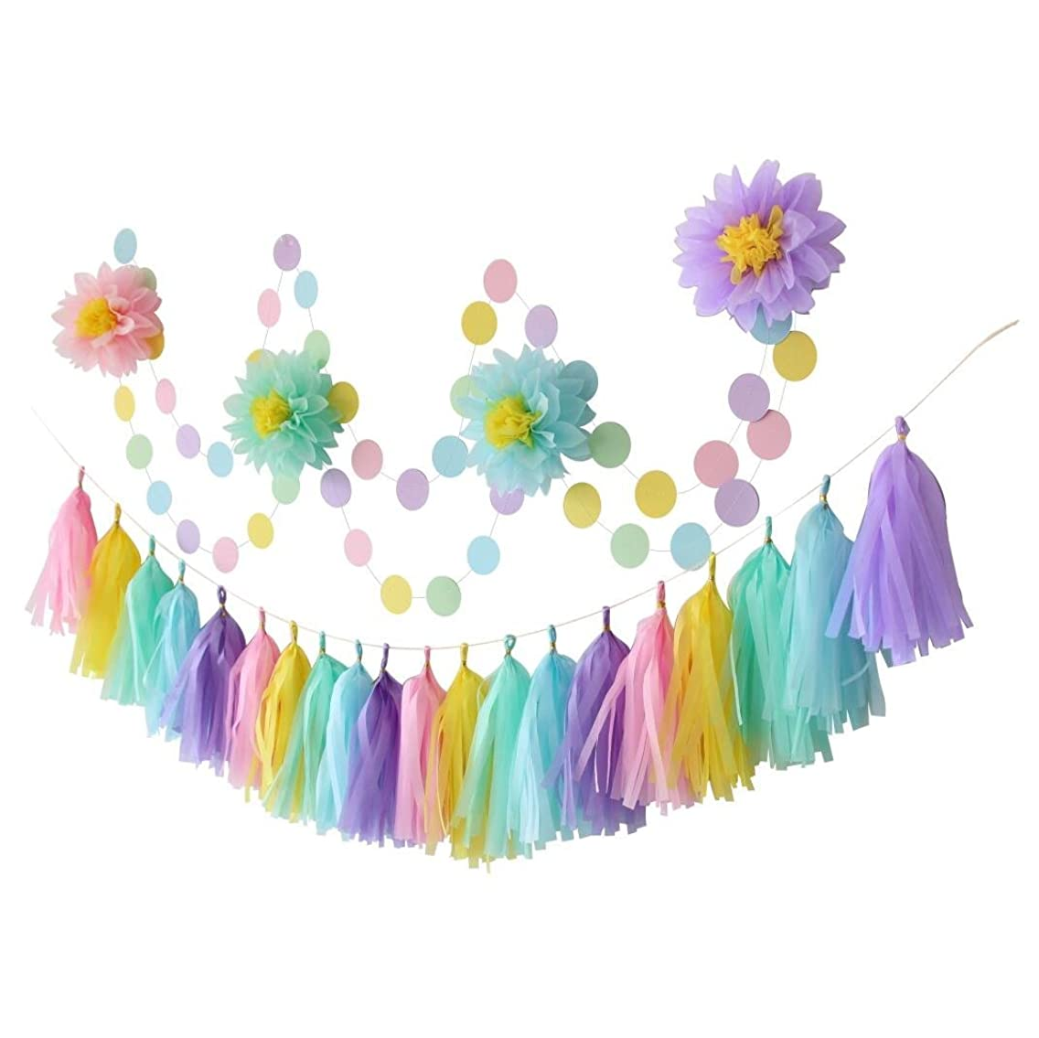 Mybbshower Pastel Hanging Decorations Kit with Paper Flowers Tassel Garland and Circle Garland for Children's Birthday Party