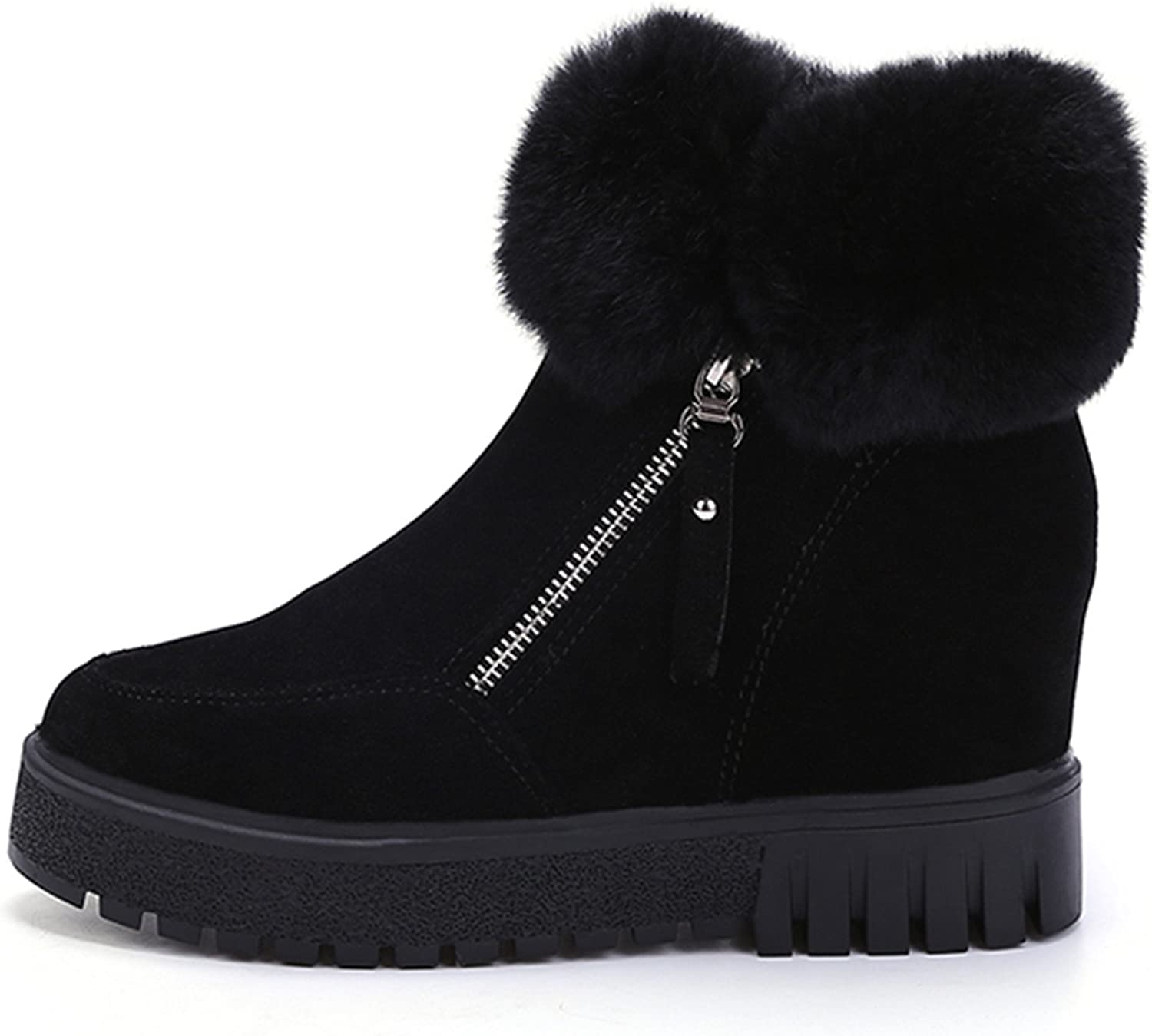 Dahanyi Stylish New Ankle Boots for Women Plush Warm Winter Boots Faux Fur Wedge Snow Boots Thick Platform shoes Woman Booties
